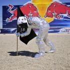 Opting not to go to the moon again, NASA seems content to put a man on Laguna Seca. The astronaut in question is Jorge Lorenzo, here planting his flag after taking time out from his perilous mission to race in, and win, a MotoGP race at Mazda Raceway on July 25.