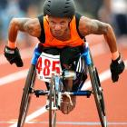 Orlando Perez, 35, of Grovetown, Ga., is focused on the finish line as he competes in the 100 meters at the 30th National Veterans Wheelchair Games. Perez took gold medals in the 100 and 200 meters and silver in the 400 and 1,500 meters.