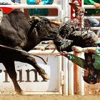 J.W. Harris of May, Texas, did an unplanned somersault over a bull called Even Money at the Calgary Stampede in Alberta. Harris was disqualified for slapping the bull with his free hand during the ride. The previous day Harris, a two-time world champion bullrider, had celebrated his 24th birthday by winning $5,500 with the best performance of the day, an 87-point ride on a bull named Kin Deadly.