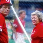 Piniella and Reds owner Marge Schott in Cincinnati in 1991.