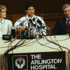 Redskins quarterback Joe Theismann held a press conference along with girlfriend and actress Cathy Lee Crosby to talk about his injury. He suffered a compound multiple fracture of his right leg that doctors operated on. Theisman never played in the NFL again.