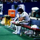 New York Jets sack specialist Mark Gastineau sucks down some oxygen during a 16-13 Jets win over the New England Patriots. Gastineau finished 1985 with 13.5 sacks after setting an NFL record with 22 the season before.