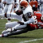 When the NFL announced its All Decade team of the 1980s, Ozzie Newsome made second team behind fellow Hall of Fame tight end Kellen Winslow. Here Newsome is taken down by New England Patriots safety Roland James during a 24-20 Browns victory on October 6, 1985, at Cleveland Municipal Stadium. (Send comments to siwriters@simail.com)