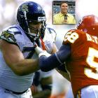 """A mammoth offensive tackle considered one of the top linemen in college football history, Tony Boselli has the unique distinction of being selected by two different expansion franchises. Boselli was the first-ever draft pick of the Jacksonville Jaguars in 1995, where he was a five-time Pro Bowler. Boselli would protect fellow Pro Bowl elect Mark Brunell in the Jaguars' memorable 1996 season that saw the two-year old franchise advance to the AFC Championship Game, where they would lose to the New England Patriots. The Jacksonville McDonalds franchises even sold a """"Boselli Burger"""" for a short time in 1998. Boselli was eventually selected by the Houston Texans in the first pick of the 2002 NFL Expansion Draft, but injuries kept him from ever donning the blue and red. Boselli signed a one-day contract with the Jaguars in 2006 and was the first elect to the Jaguars' Hall-of-Fame, """"Pride of the Jaguars."""""""