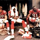 Mark Harris, J.J. Stokes and Owens before a 1997 game in San Francisco.