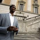 Bosh walks in Rome's Campidoglio City Hall Square during the Raptors' visit to Rome.