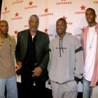 Bosh poses with Ric Wilson, Julius Erving and Dwyane Wade at the Converse NBA All-Star Press Conference in Denver.
