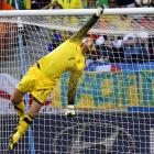 Netherlands goalkeeper Maarten Stekelenburg timed his leap perfectly to knock away a shot from Kaka that was destined for glory in the upper right hand corner. The save kept the Brazilian lead at 1-0.