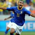 Brazil struck first when Robinho snuck in behind the Dutch defense and sent home a right footed strike to put his team ahead 1-0.
