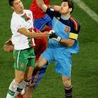 """The Spanish captain, Casillas had a shaky start to the tournament which was unusual for the usually sure-handed goalkeeper. Nicknamed """"Saint Iker"""", Casillas has long been regarded as arguably the world's best goalkeeper"""