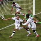 Needing a victory to reach the knockout rounds, the U.S. defeated Algeria 1-0 thanks to a second-half goal in injury time from Landon Donovan. The win catapulted the Americans to the top of Group C, but they failed to take advantage of a favorable draw in losing to Ghana in the round of 16.