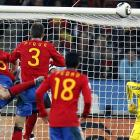Xavi ended up getting his first point of the World Cup on the well-placed corner kick, bending and timing it to meet the charging Puyol.