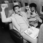 In  honor of Jet Blue flight attendant Steve Slater, who famously quit his job after arguing with a passenger while the plane was on the tarmac, SI presents a photo collection  of athletes on airplanes.   Muhammad Ali gets ready for a nap on the flight back to Chicago after his victory over Jean-Pierre Coopman.
