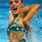 Spanish synchronized swimmer Andrea Fuentes was startled during her solo technical routine when she found that her one-piece swimsuit had magically turned into a two-piece while under water.