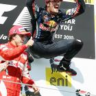 After winning the Hungarian Formula One Grand Prix, Mark Webber was literally bouncing off the walls with excitement.