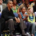 Everyone deserves a break sometimes, right?  Leaving the oil crisis, the sputtering economy and the war in Afghanistan at the office, President Obama took in a Washington Mystics game with youngest daughter, Sasha.