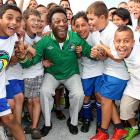 Still as spry as the children bookending him, Pele excitedly announced the return of the New York Cosmos.  The children, none of whom were born when the Cosmos existed, were just happy to be there.