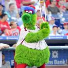 When he isn't shooting frankfurters into the stands or stealing players' gloves, the Phillie Phanatic likes to work on his swing.  He picked up the crutch technique from former Philly-great Doug Glanville.