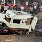 """Family vacations in the old RV aren't exactly restful if they end up on the course at United Downs Raceway near Redruth, England.  Fun Fact to Know & Tell : Banger racing is a popular """"contact"""" motorsport in the U.K. and """"caravans"""" are choice targets."""