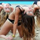 Maybe if the AVP, which went bust (no pun intended) this week, had employed cheerleaders like these ladies gracing the European Beach Volleyball Championships in Berlin, it would not have hit bottom.