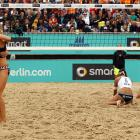 The German duo express relief that their choice of swimwear proved to be the decisive factor in their gold medal match vs. the vanquished Katrin Holtwick and Ilka Semmler at the European Beach Volleyball Championship in Berlin.