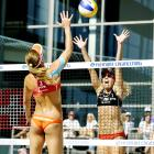 In order to lend at least a shred of redeeming social and educational value to this seemingly gratuitous shot from the Brasilia vs. USA Swatch FIVB World Tour Paf Open Grand Prix (got all that?) in Maarienhamma, Finland, we wish to point out that the ancient Sumerians invented swimwear...we think.