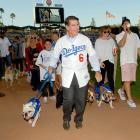 The former first-sacker took his woofer for a drag during the Bark In The Park event at Dodger Stadium.