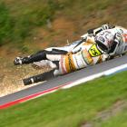 Alex Baldolini of Italy crashed during the first free practice of the MotoGP of Czech Republic at Brno Circuit on Aug. 13.