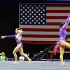 Gymnasts warm up prior to competition at the 2010 Visa Championships on Aug. 14 at the XL Arena in Hartford, Conn.