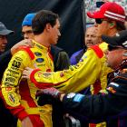 """After some contact during the 2013 Food City 500 at Bristol, Logano paid a visit to former Joe Gibbs Racing teammate Hamlin on pit road and had to be restrained by JGR crew members. Logano's Penske crew soon joined the fray, which later continued on Twitter: """"Hey @dennyhamlin great job protecting that genius brain of yours by keeping your helmet on,"""" Logano tweeted. Hamlin's response: """"Why's that ... what would u do?"""" """"Show you some love and appreciation,"""" Logano replied. """"Need my address?"""" Hamlin asked. """"Last time I checked he had my cell and direct message button to choose from if he's got a problem ... Otherwise hush little child"""" The two drivers renewed their battle a week later in the Auto Club 400, making contact and wrecking on the final lap. Hamlin ended up in the hospital."""