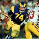 Before he became an actor and commercial pitchman, Olsen terrorized quarterbacks during his 15-year-career with the Rams and played in 14 straight Pro Bowls.    Runner-up: Bob Lilly  Worthy of consideration: Bruce Matthews, Fred Dean (San Francisco), Henry Jordan, Louie Kelcher, Bob Lilly, Ron Mix, Mike Reid
