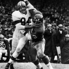 Brown started 13 seasons for the Giants at tackle and was an All-NFL selection for eight straight years (1956-1963)  Runner-Up: Erik Williams  Worthy of consideration: Harris Barton, Roosevelt Brown, Ross Browner, Jacob Green, Gary Johnson, Jim Lachey, Jim Hunt, Harvey Martin, Bob St. Claire