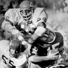 "The first player drafted by the AFL -- he went to the K.C. Chiefs in 1963 out of Grambling -- the fast, ferocious 6' 7"", 270-pound Hall of Fame defensive tackle swatted down 16 passes in 1967 and later played in two Super Bowls.  Runner up: Dante Lavelli  Worthy of consideration: Gary Collins, Antonio Freeman, Stanley Morgan, Charley Young, Hines Ward"