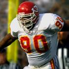 He and Chiefs teammate Derrick Thomas combined to form one of the most devastating pass rushing duos in NFL history. (Smith famously swung a baseball bat after the sacking the quarterback, a tribute to fellow Kansas city icon George Brett.) Late in his career he left for rival Denver, where he went on to win a pair of Super Bowl titles. He finished with 86.6 career sacks.    Runner-up: Jevon Kearse  Worthy of consideration: Tony Brackens, Chad Eaton, Julius Peppers, Chuck Smith, George Webster