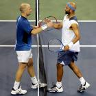 """In a quarterfinal match that starts at 10:16 p.m., Andre Agassi defeats James Blake 3-6, 3-6, 6-3, 6-3, 7-6(6). After the match during his live on-court interview, Agassi says, """"One-fifteen in the morning? 20,000 people still here. I wasn't the winner, tennis was."""""""