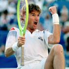 """Jimmy Connors turns 39 years old and comes back from a 2-5 fifth-set deficit to beat Aaron Krickstein 3-6, 7-6, 1-6, 6-3, 7-6. Says Connors of his heroic efforts, """"I've either got to be nuts or else I love the game more than I thought I did. For me to pull off another stunt like this, I mean, how can you not laugh about it? Seriously."""""""
