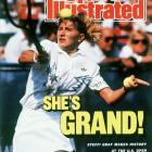 """Steffi Graf becomes the third woman to complete the Grand Slam, defeating Gabriela Sabatini in the women's final, 6-3, 3-6, 6-1. Graf also won the gold medal at the 1988 Summer Olympics for a """"Golden Slam."""""""