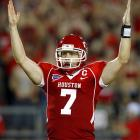 Last Week:  15 of 24 for 279 yards, 1 INT; 1 rush for 10 yards in 54-24 win over UTEP  Season:  32 of 46 for 553 yards, 5 TDs and 3 INTs; 3 rushes for 26 yards  For the first time since his freshman year, Keenum went without a touchdown pass as he left in the third quarter after taking a blow to the head and is listed as day to day. The Cougars didn't miss a beat without him as replacement Cotton Turner led them to 17 points in his first three possessions, but after cracking the Top 25, they'll need him back as they put their BCS hopes on the line at UCLA.   Next Up:  Saturday at UCLA