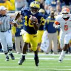 Last Week:  4-of-4 passing for 60 yards; five rushes for 129 yards and two TDs in 65-21 win over Bowling Green   Season:  57-of-80 passing for 731 yards, four TDs and one INT; 79 rushes for 688 yards and six TDs  The knee, according to Michigan's staff  is fine . In fact, Robinson could have returned if needed, but it was clear he wasn't. Shoelace was spectacular in a little more than nine minutes of work, running for 100-plus yards again to keep his national rushing lead. But the injury -- minor or not -- was a concern for a player who has taken a pounding and enormous workload just four weeks into the season.   Next Up:  Saturday at Indiana
