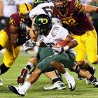 """Last Week:  28 rushes for 114 yards and one TD in 42-31 win over Arizona State   Season:  58 rushes for 475 yards and four TDs; one reception for nine yards  It certainly wasn't pretty against a Sun Devils defense that James called """"the best defense I've faced in my whole career."""" Averaging nearly 12.5 yards per carry coming in, James tallied just 2.7 yards on 27 of his career-high 28 carries, but a 40-yard TD run in the first quarter helped him break 100 yards. He'll be on his biggest stage yet as the focal point of the Ducks' offense against the Cardinal.   Next Up:  Saturday vs. Stanford"""