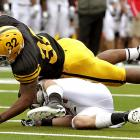 Iowa lost backup running back Jewel Hampton to a knee injury earlier this week, but if starter Adam Robinson keeps running this way, the Hawkeyes should be fine. Robinson rushed for 115 yards and two scores and added 75 yards receiving, and Iowa became the first team to shut out Ball State since 2005.
