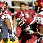 The Cougars drew first blood, scoring on a 30-yard touchdown pass early in the first quarter, but it was all USC after that. Matt Barkley threw three touchdown passes and USC received 80-plus rushing yards from both Allen Bradford and Stanley Havili (pictured) in a lopsided win over lowly Washington State.