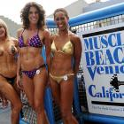 To readers of the male persuasion who are fixing to complain about the preceding photo, we present Lady Sayde, Patte Hughes and LeeAnne Edwards at the annual bodybuilding and bikini competition at Venice Beach.