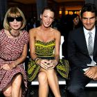 From the looks of them, the notoriously icy  Vogue  editrix, the fabulous actress, and Switzerland's gift to the art of batting a fuzzy yellow ball back and forth clearly enjoyed the sock puppet presentation at  Fashion's Night Out: The Show at Lincoln Center  on Sept. 7 in New York City.