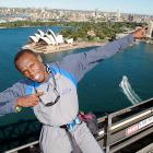 According to rather sketchy reports out of Australia, a single Bolt is all that keeps the Sydney Harbour Bridge from blowing off in the direction in which the Olympic gold medalist is pointing.