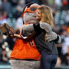 The Giants' mascot put the ol' San Francisco squeeze on supermodel Marisa Miller after she threw out the first pitch at AT&T Park on Sept. 15.