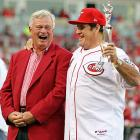 Looking more like the Bambino than Charlie Hustle, a rather robust Pete Rose shared a hearty yuk with Reds CEO Bob Castellini during a ceremony at Great American Ballpark to celebrate the 25th anniversary of Rose busting baseball's career hit record of 4,192.