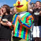 Yes, Bert is a big Boilermaker booster and here he is at Ross Ade Stadium in West Lafayette, Ind., cheering on his heroes as they go down in flames to the Toledo Rockets, 31-20.