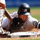Brett Gardner of the Yankees is tagged out at third by Baltimore's Josh Bell during New York's 3-2 home victory on Sept. 8.