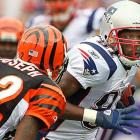 New England Patriots wide receiver Randy Moss avoids being tackled by Cincinnati Bengals cornerback Johnathan Joseph in the second quarter of their Sept. 12 game in Foxboro. The Patriots prevailed, 38-24.